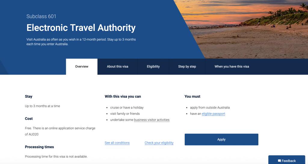 特區護照持有者在網上申請澳洲ETA