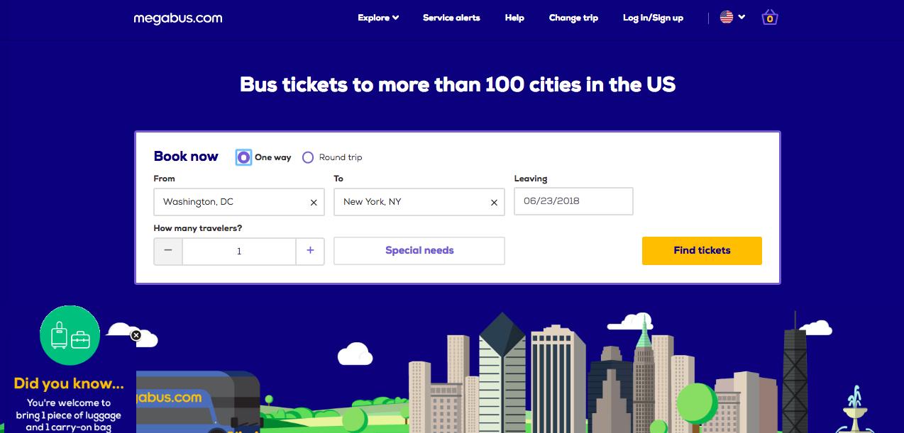 [美國] 網上預約Megabus長途巴士車票,省錢橫跨美國東岸城市